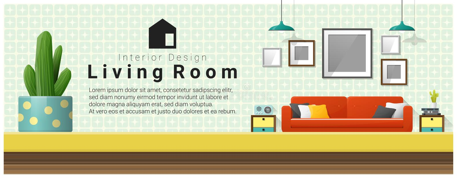 Interior design with table top and Modern living room background stock illustration