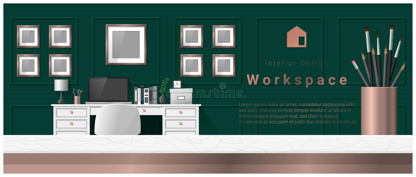 Interior design with table top and Modern office workplace background. Vector , illustration royalty free illustration