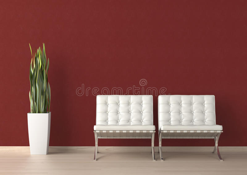 Interior design of two white chair stock illustration