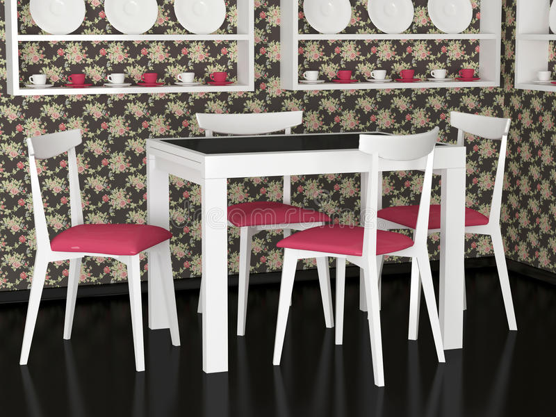 Interior design of vintage dining room stock photography