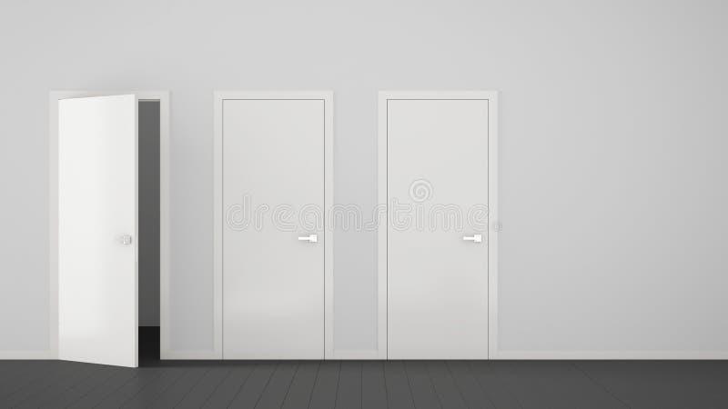 Interior design vuoto della stanza con chiuso e porte aperte con la struttura, maniglie di porta, pavimento grigio di legno Scelt illustrazione vettoriale