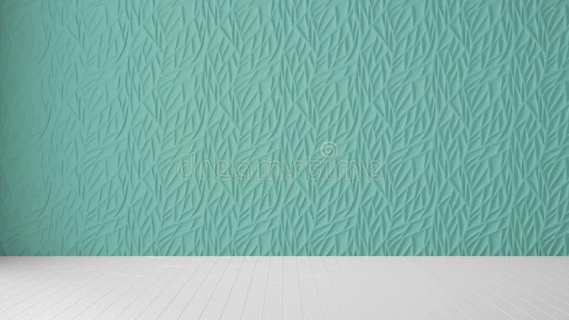 Interior design vuoto della stanza, pannello del turchese e pavimento in bianco di legno, fondo moderno di architettura con lo sp royalty illustrazione gratis