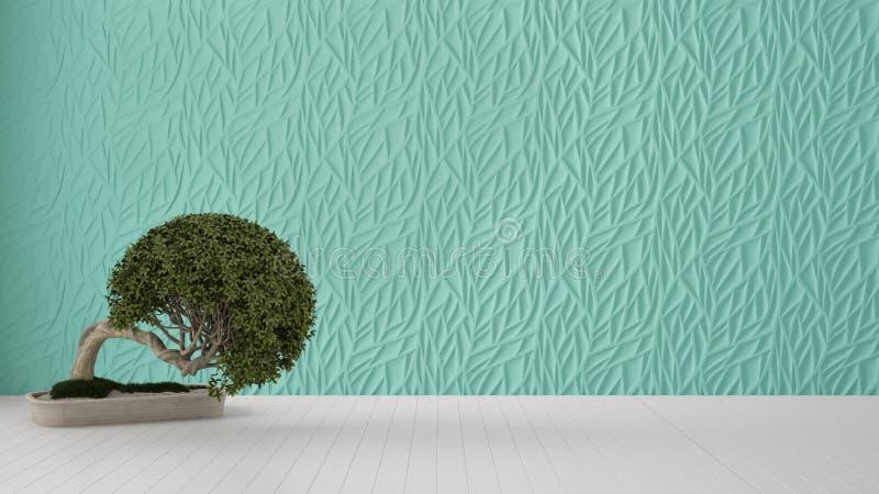 Interior design vuoto della stanza, pannello modellato decorato turchese, pavimento bianco di legno e pianta in vaso, fondo moder immagini stock libere da diritti