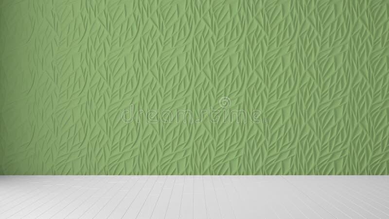 Interior design vuoto della stanza, pannello verde e pavimento in bianco di legno, fondo moderno di architettura con lo spazio de illustrazione vettoriale