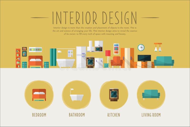 Interior design web banner template, Bedroom, bathroom, kitchen, living room project vector Illustration stock illustration