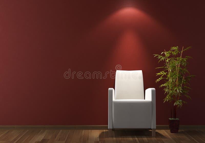 Interior design white armchair on bordeaux wall royalty free stock photo