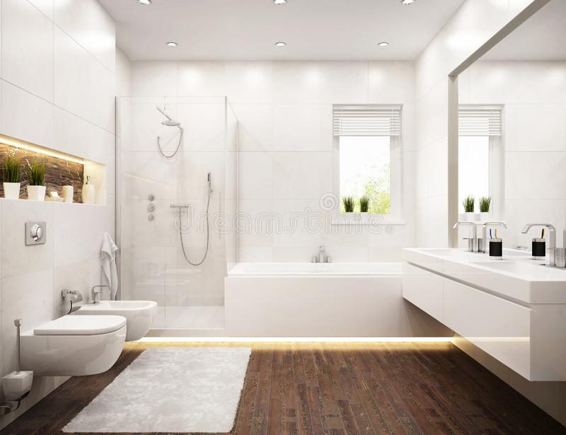 Interior design of white bathroom with window. And big mirror royalty free stock photo