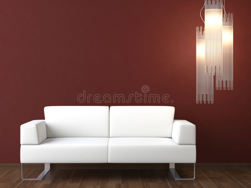 Interior design white couch on bordeaux wall royalty free stock photography