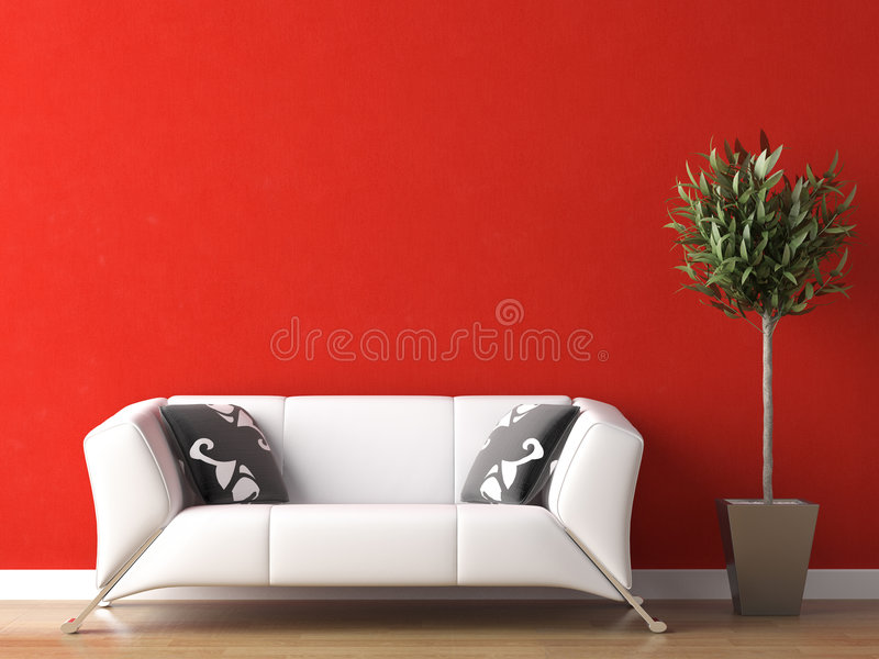 Download Interior Design Of White Couch On Red Wall Stock Image - Image: 9108129