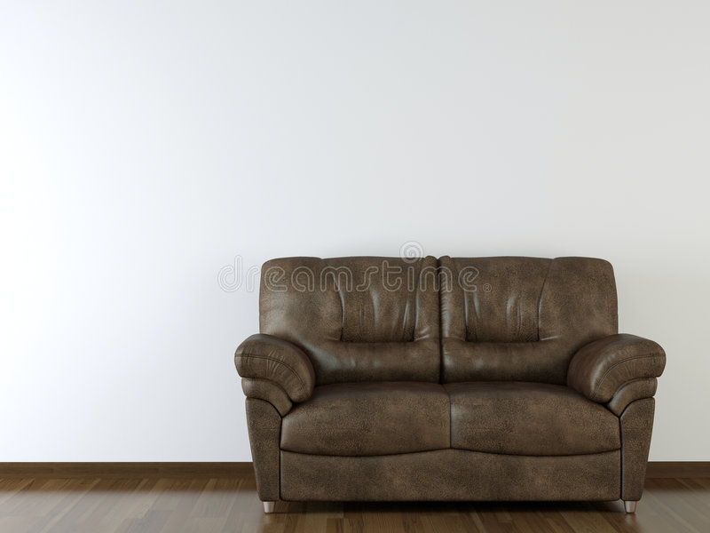 Interior design white wall with leather couch stock illustration
