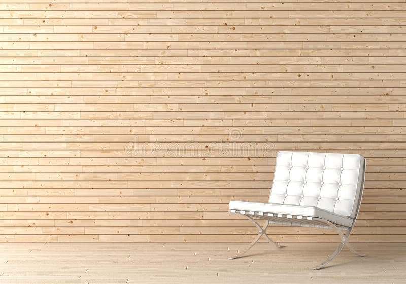 Interior design wood and chair vector illustration
