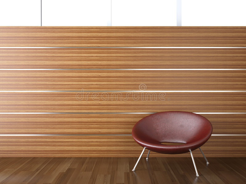 Interior design wood wall. Interior design of wood cladding wall with a red leather chair vector illustration
