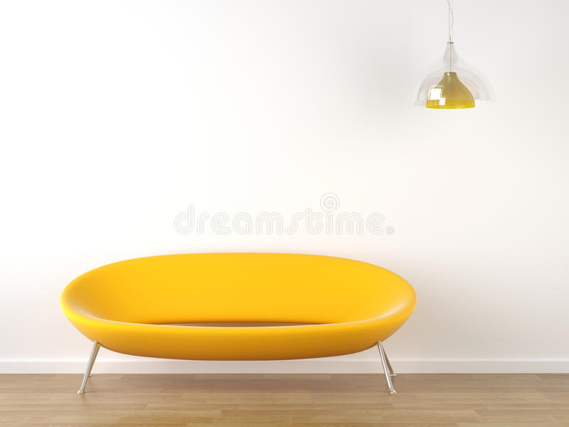 Interior design yellow couch on white. Interior design of vibrant yellow couch against a white wall with a hanging lamp and lots of copy space stock illustration