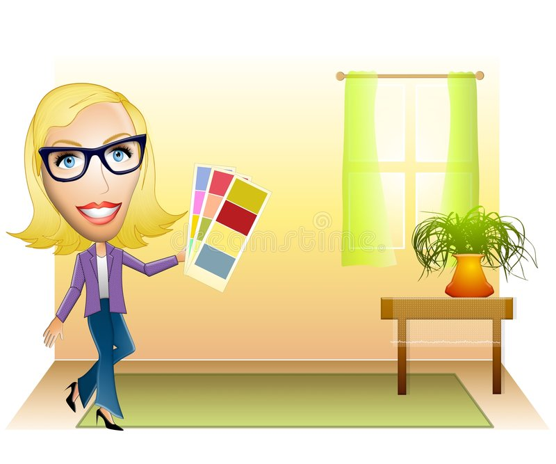 Interior Designer Color Samples. An illustration featuring a snappy dressed young woman with colour samples in a room stock illustration
