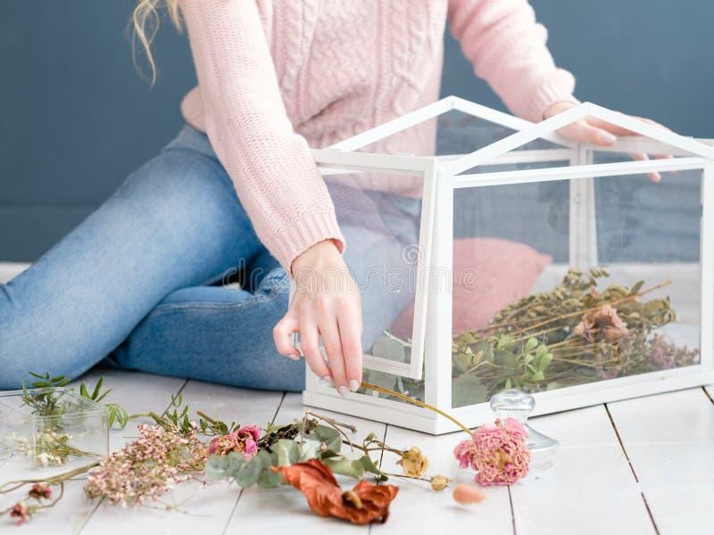 Interior designer creating room decor composition royalty free stock image
