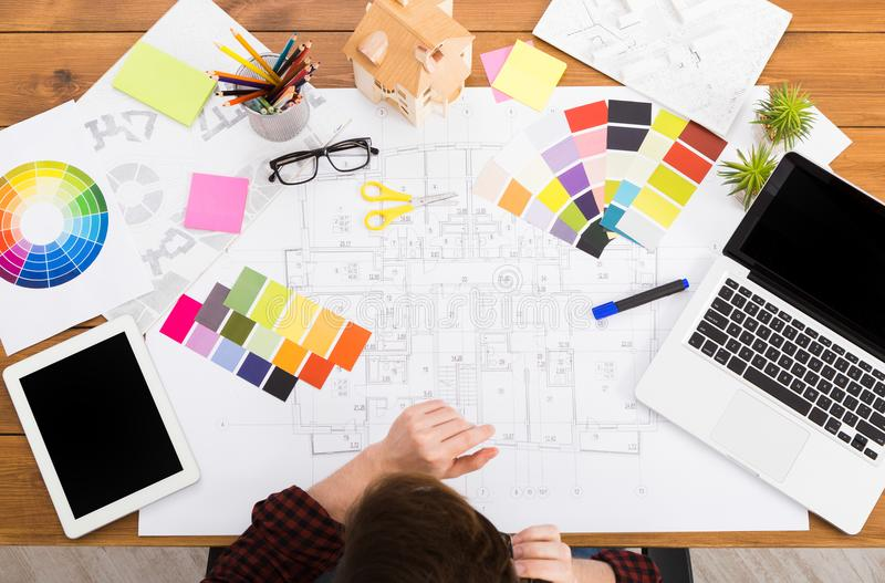 Interior designer working with palette top view royalty free stock photography