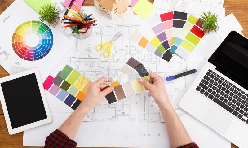 Interior designer working with palette top view stock photos