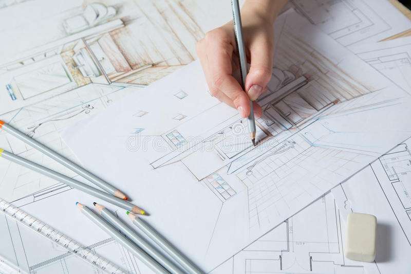 Hand drawing details of the interior stock illustration - Hand drafting for interior design ...