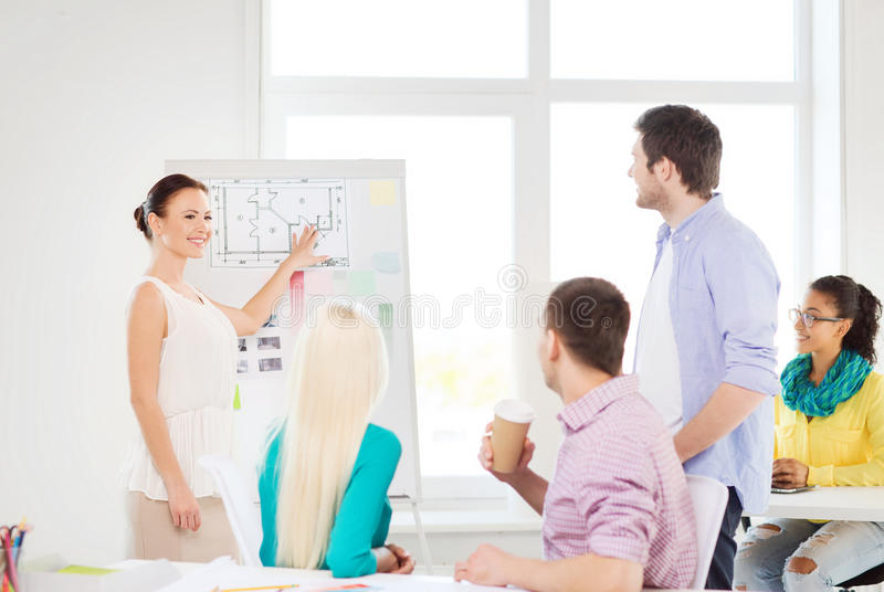 Interior designers having meeting in office. Education, interior design and office concept - smiling interior designers having meeting in office stock image