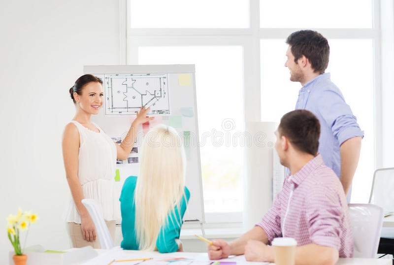 Interior designers having meeting in office. Education, interior design and office concept - smiling interior designers having meeting in office stock images