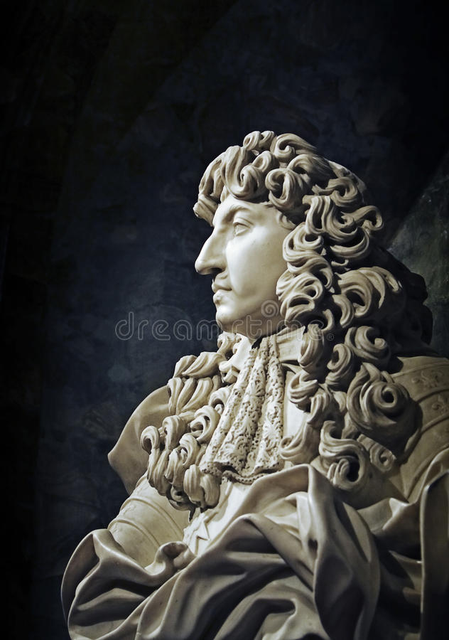 Interior detail. Bust of king Louis XIV royalty free stock photography