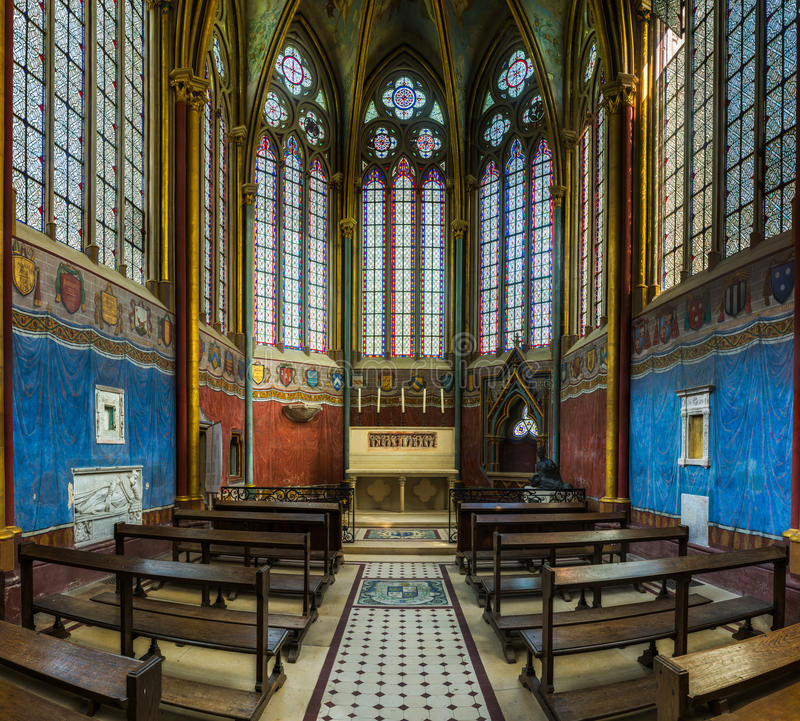 Interior and detail of Fontaine Chaalis Abbey in France stock photos