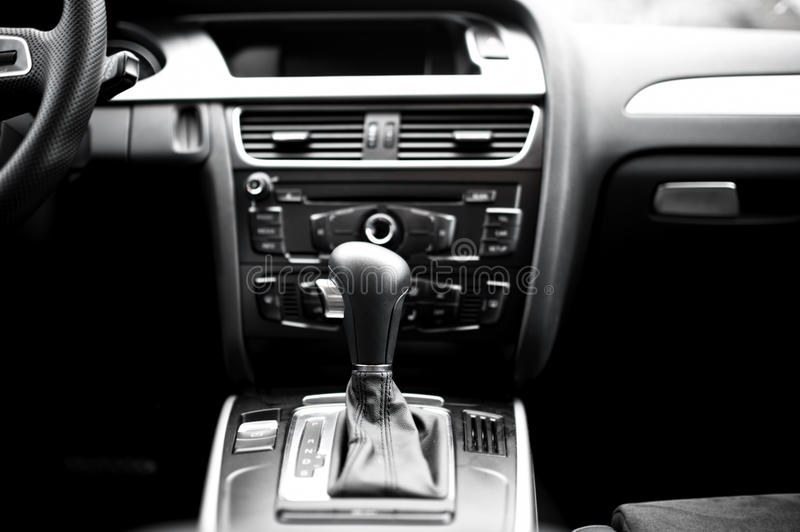 Interior details and elements of modern car, automatic transmission stock photos