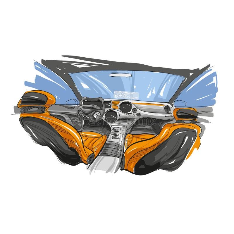 Interior dibujado mano del automóvil Coche del futuro Ilustración del vector libre illustration