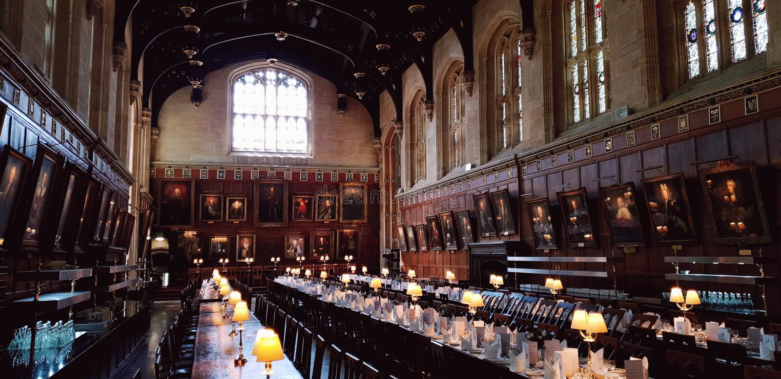 Dining Hall, Christ Church College, Oxford, England stock photo