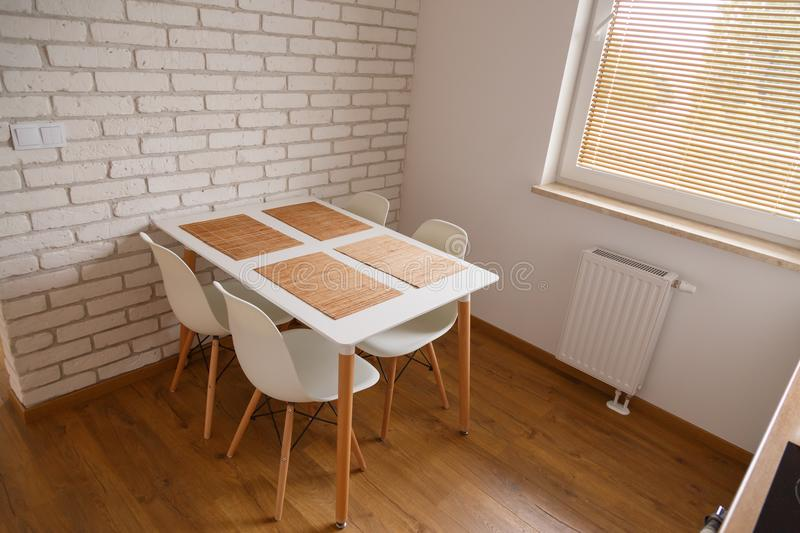 Interior of a dining place. Kitchen in a modern Scandinavian style stock images