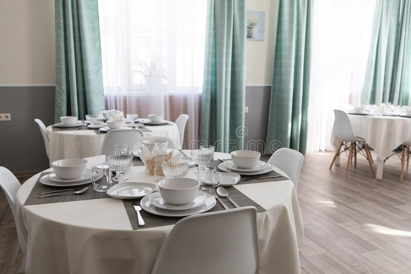 The interior of the dining room in the hospital royalty free stock image