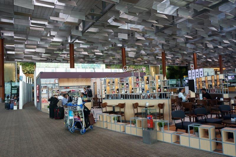 Interior do aeroporto de Changi em Singapura fotos de stock