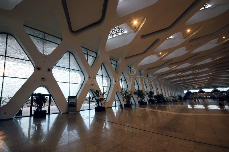 interior do aeroporto internacional de Menara imagens de stock