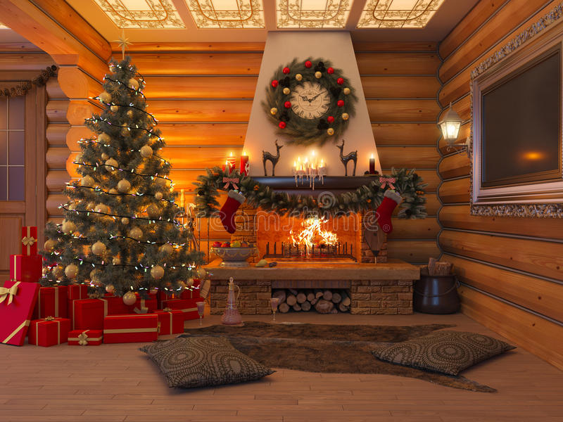 interior do ano novo da ilustração 3D com árvore de Natal, presentes ilustração stock