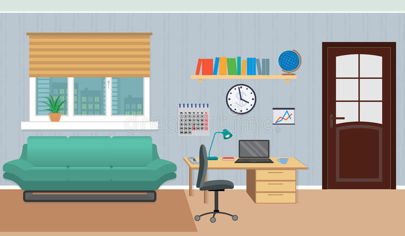 Interior do armário do trabalho em casa que inclui a zona do resto e o lugar de trabalho ilustração do vetor