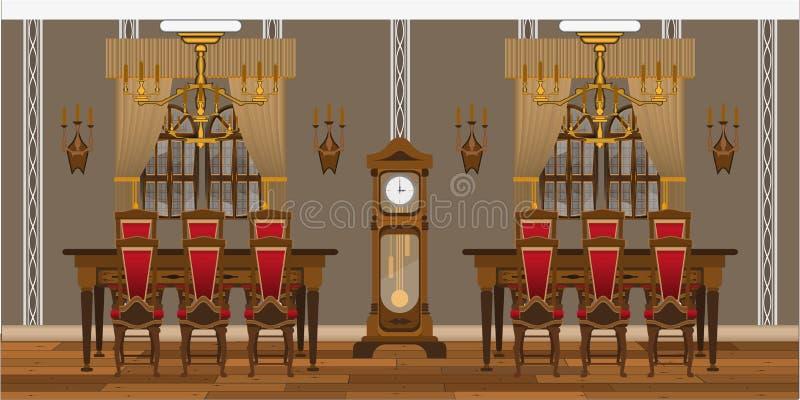 Interior do armário ou da sala de visitas com as grandes tabelas e cadeiras ilustração royalty free