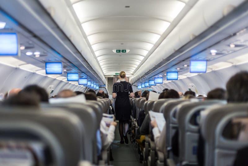 Interior do avião comercial com os passageiros do serviço da comissária de bordo em assentos durante o voo imagens de stock