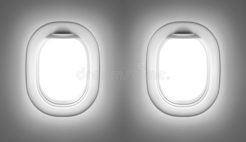 Interior do avião ou do jato com janelas ilustração royalty free