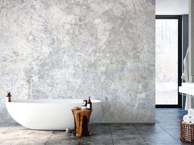 Interior do banheiro Modelo da parede Arte da parede 3D rendição, ilustração 3D ilustração do vetor