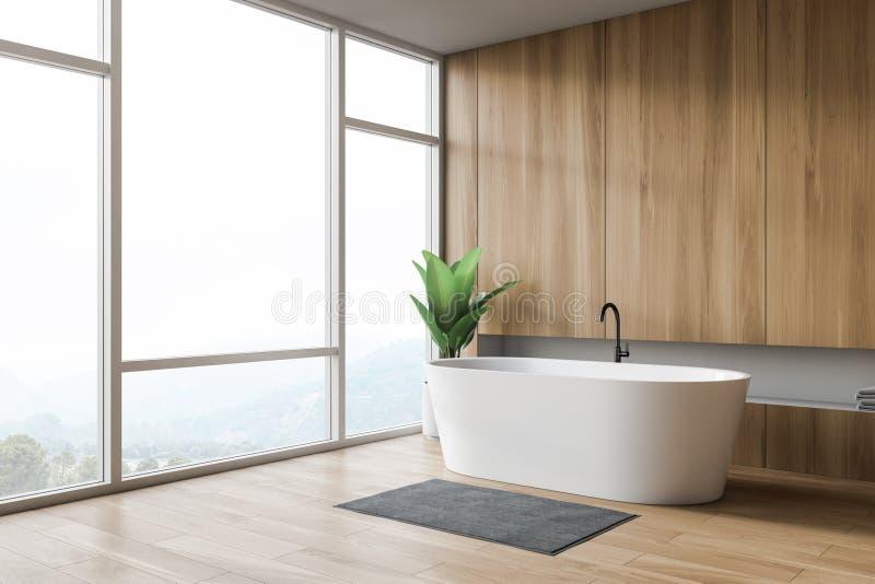 Interior do banheiro do projeto moderno com bathtube e a janela panorâmico ilustração royalty free