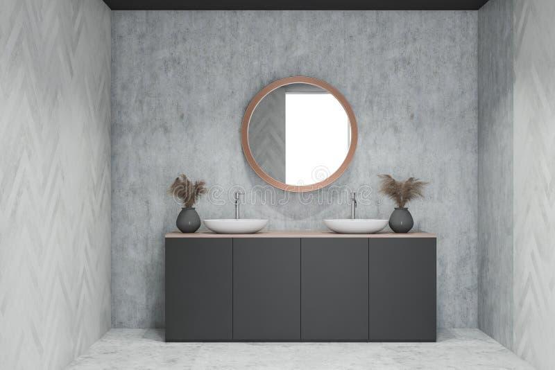 Interior do banheiro do projeto moderno com espelho do círculo ilustração do vetor
