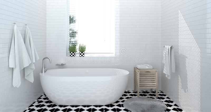 Interior do banheiro, toalete, chuveiro, rendição home moderna do projeto 3d para o banheiro branco da telha do fundo do espaço d imagem de stock royalty free