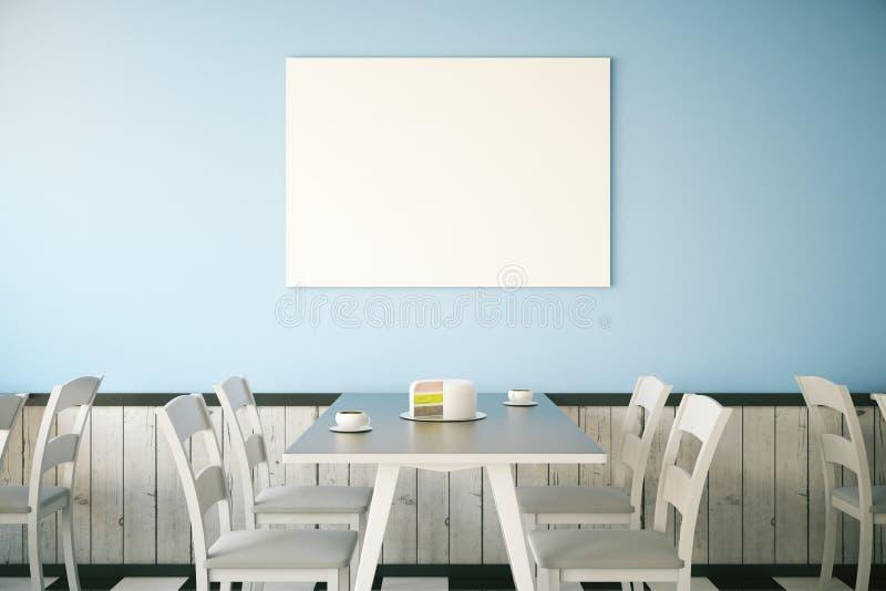 Interior do café com cartaz vazio ilustração do vetor