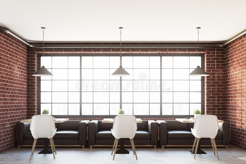 Interior do café do tijolo com uma janela panorâmico ilustração stock