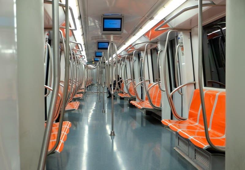 Interior do carro de metro fotos de stock