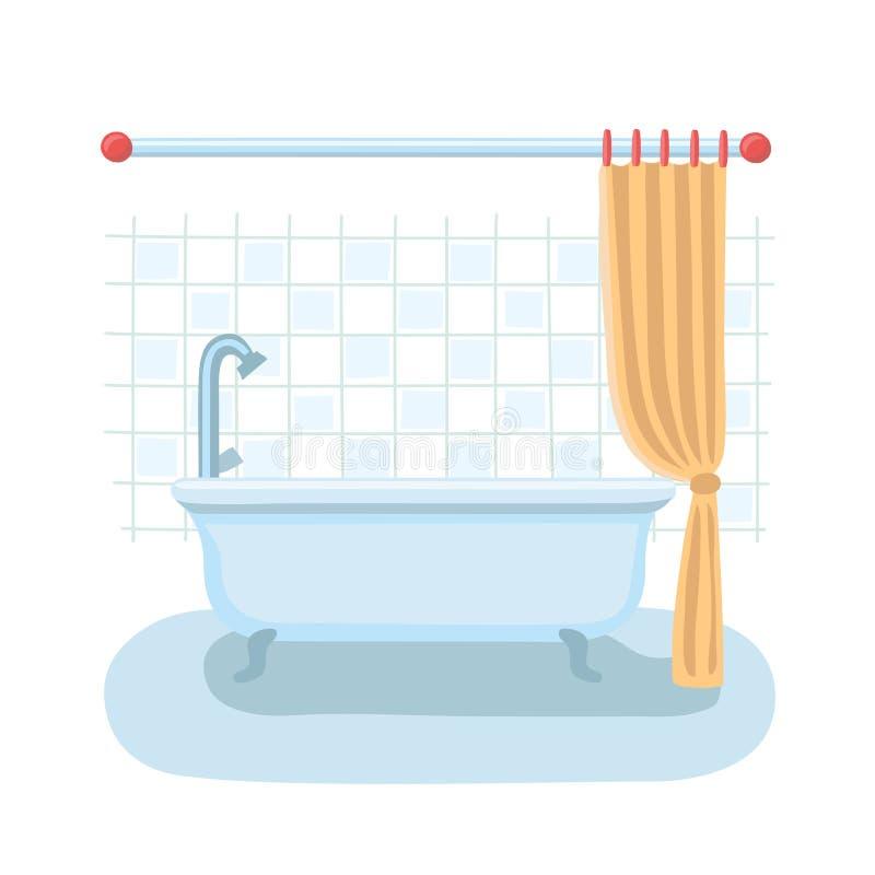 Interior do chuveiro do banheiro no estilo liso do vetor dos desenhos animados com a cortina de chuveiro aberta e fechado ilustração royalty free