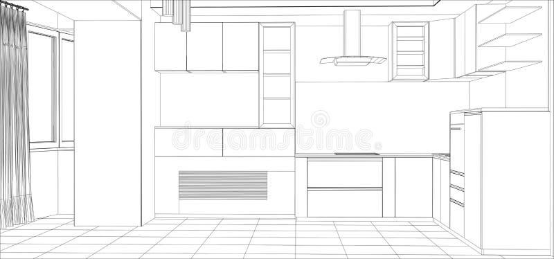 Interior do esboço do vetor da cozinha Ilustração ilustração royalty free
