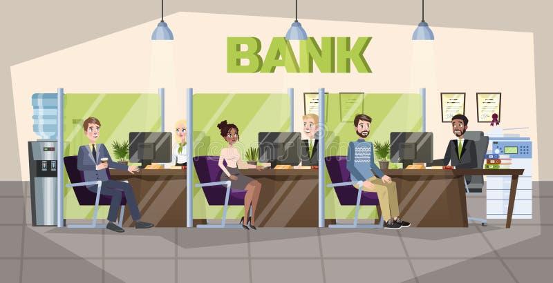 Interior do escritório do banco Os povos fazem operações financeiras ilustração do vetor
