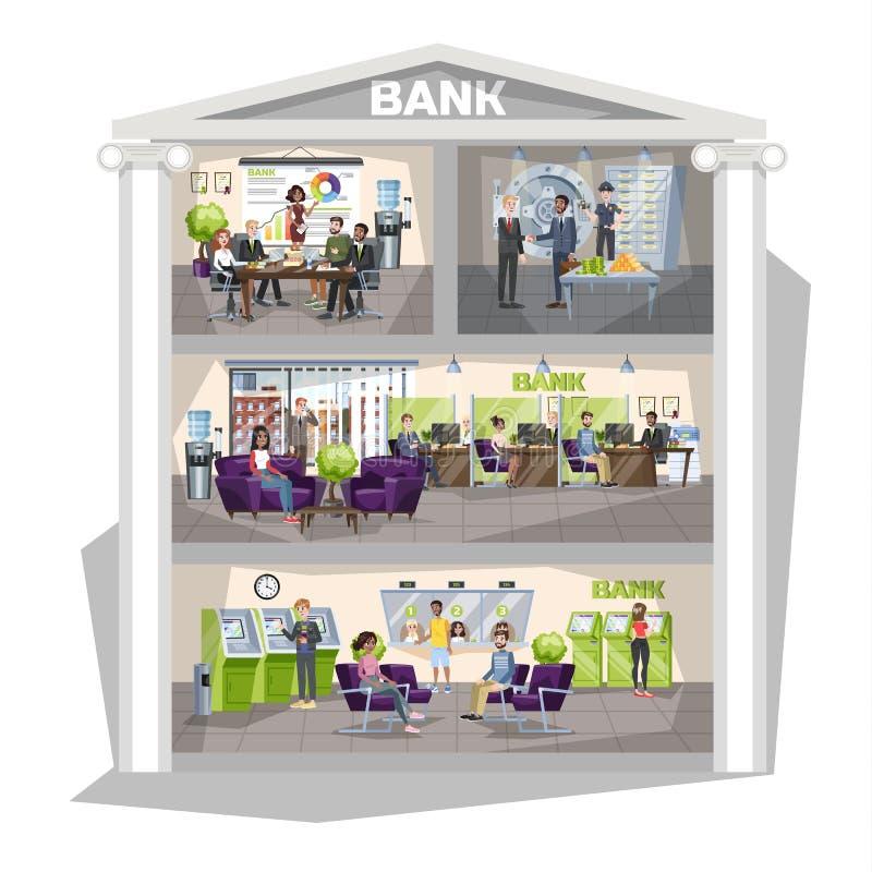 Interior do escritório do banco Os povos fazem operações financeiras ilustração royalty free