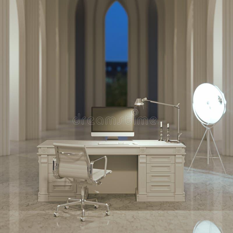 Interior do escritório do blogger de Minimalistic na sala gótico branca ilustração royalty free